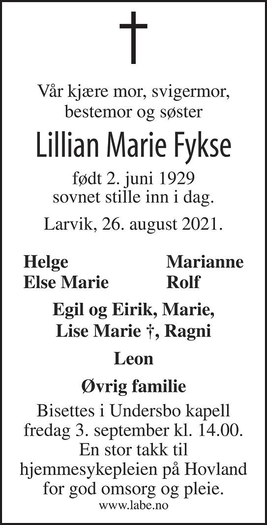 Lillian Marie Fykse Dødsannonse