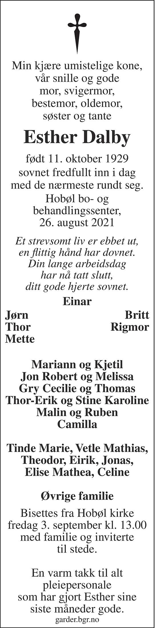 Esther Dalby Dødsannonse