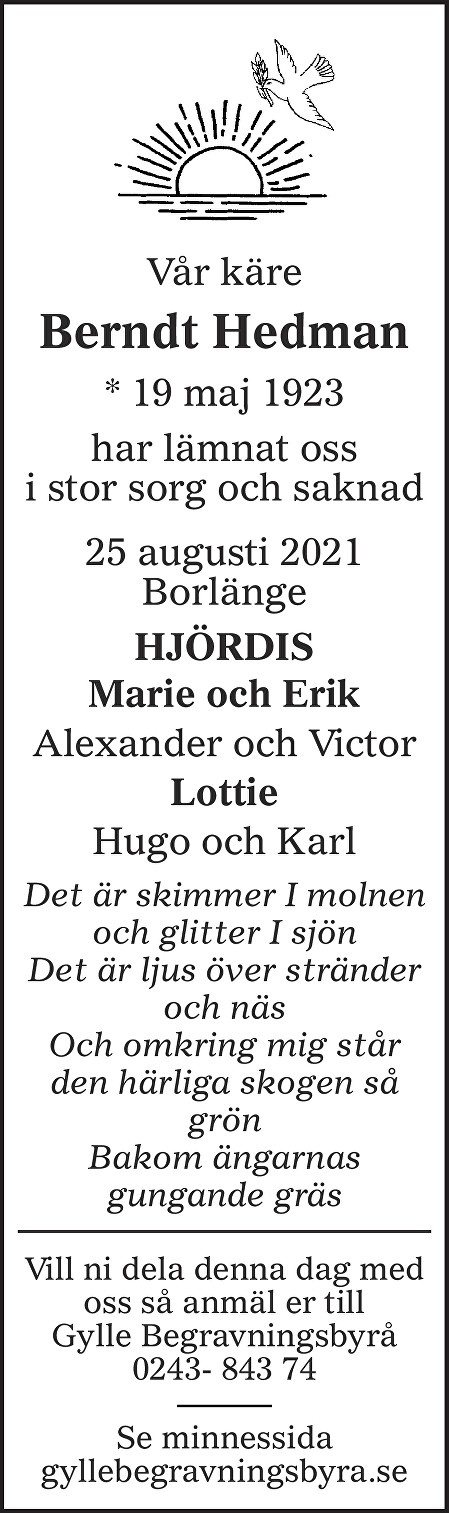 Berndt Hedman Death notice