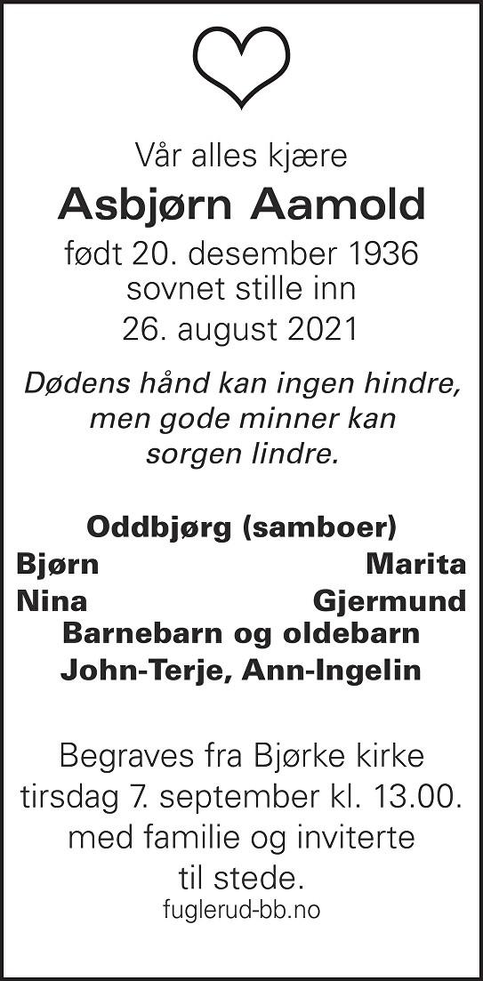 Asbjørn Aamold Dødsannonse