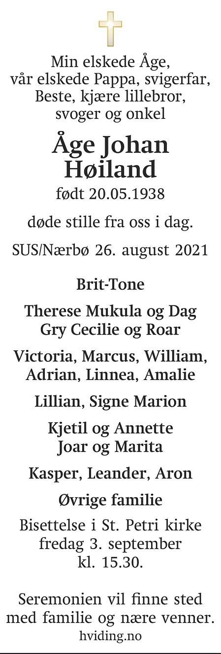Åge Johan Høiland Dødsannonse