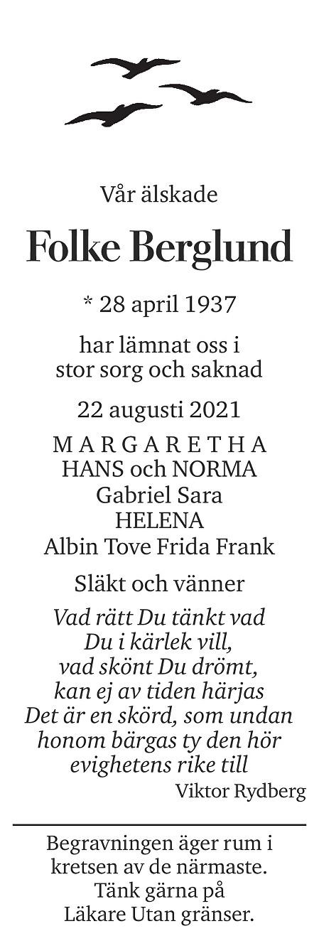 Folke Berglund Death notice