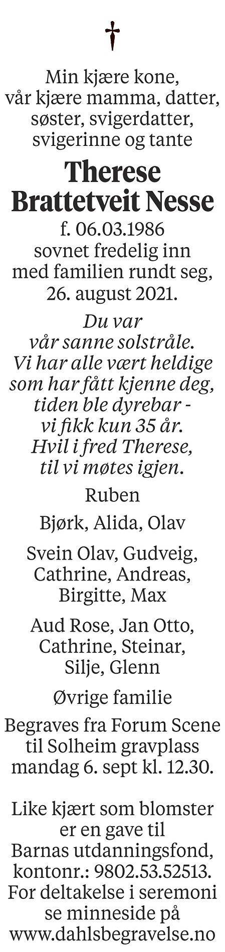 Therese Brattetveit Nesse Dødsannonse