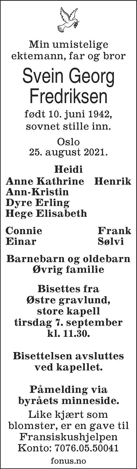 Svein Georg Fredriksen Dødsannonse
