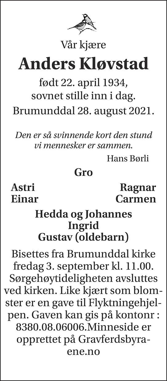 Anders  Kløvstad Dødsannonse