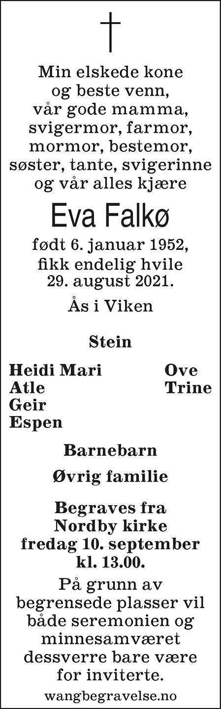 Eva Falkø Dødsannonse