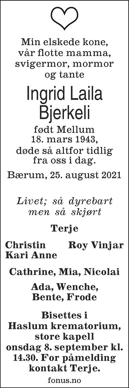 Ingrid Laila Bjerkeli Dødsannonse