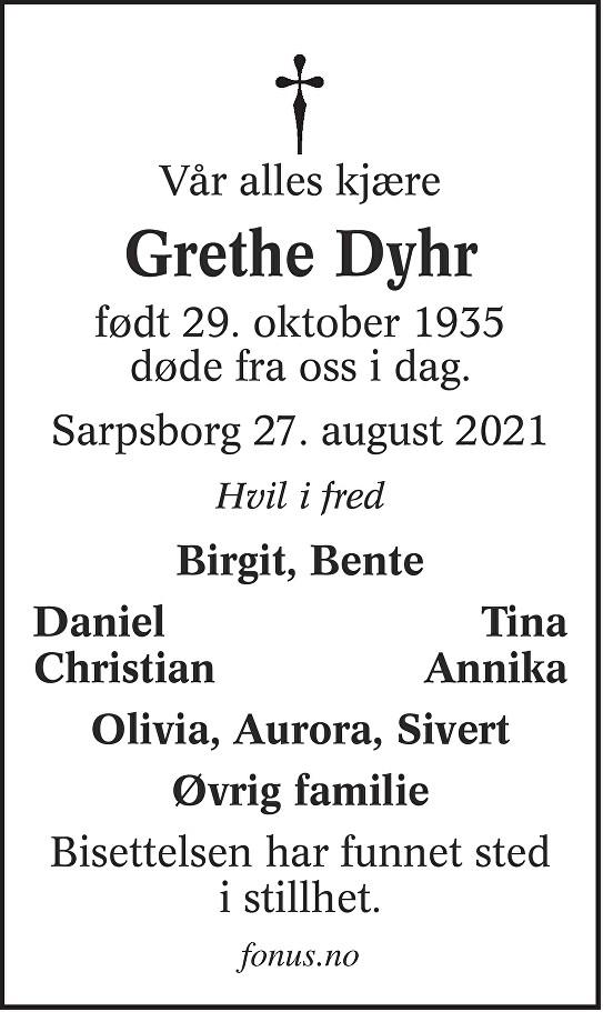 Grethe Dyhr Dødsannonse