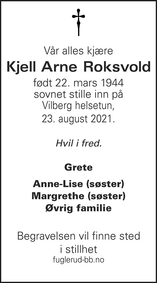 Kjell Arne Roksvold Dødsannonse