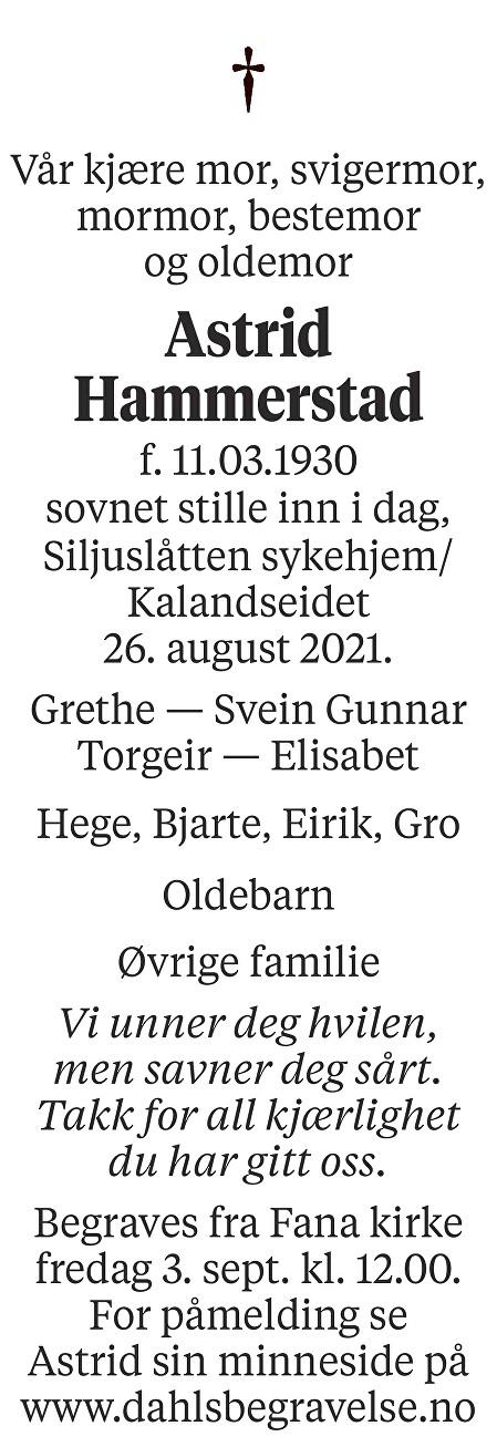 Astrid Hammerstad Dødsannonse