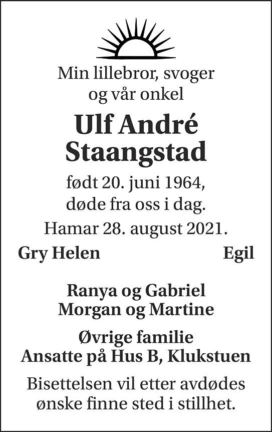 Ulf Andre Staangstad Dødsannonse