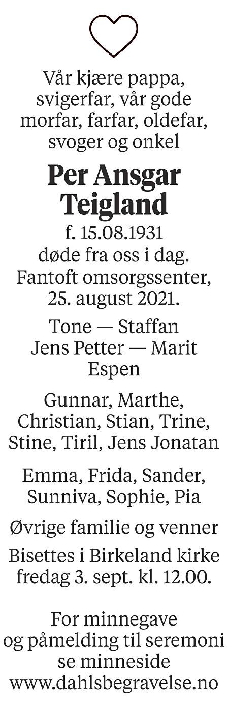 Per Ansgar Teigland Dødsannonse