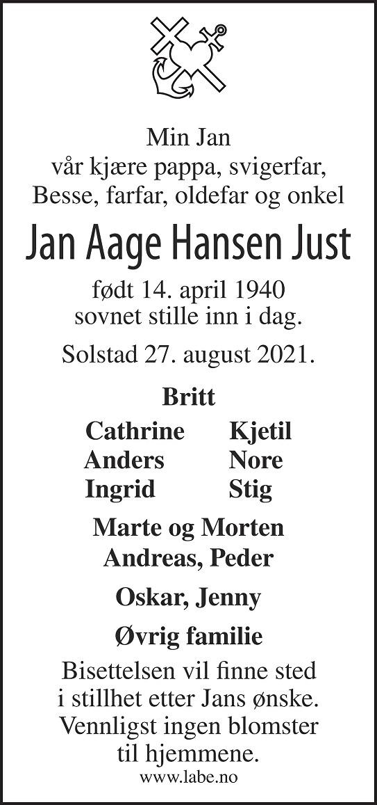 Jan Aage Hansen Just Dødsannonse