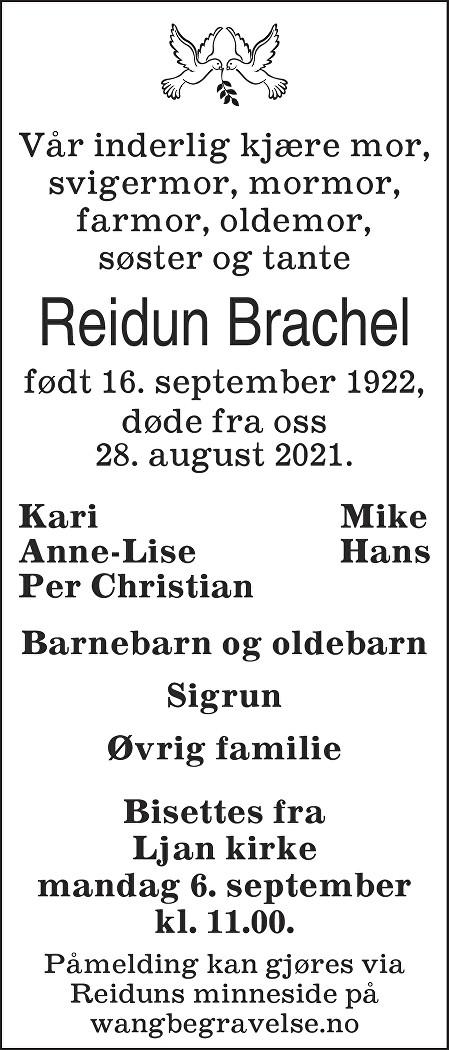 Reidun Marit Brachel Dødsannonse
