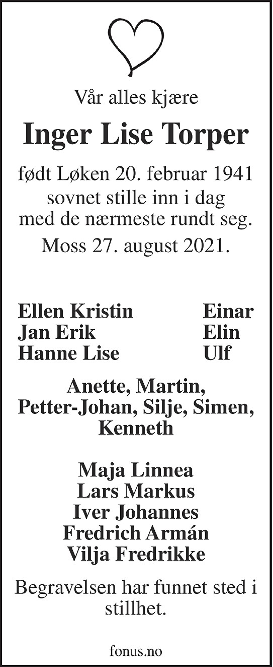 Inger Lise Torper Dødsannonse