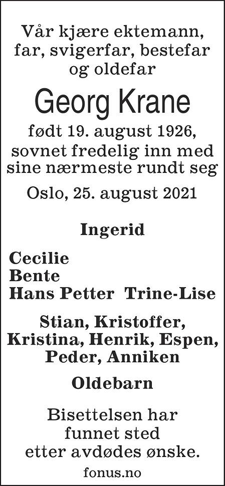 Georg Krane Dødsannonse
