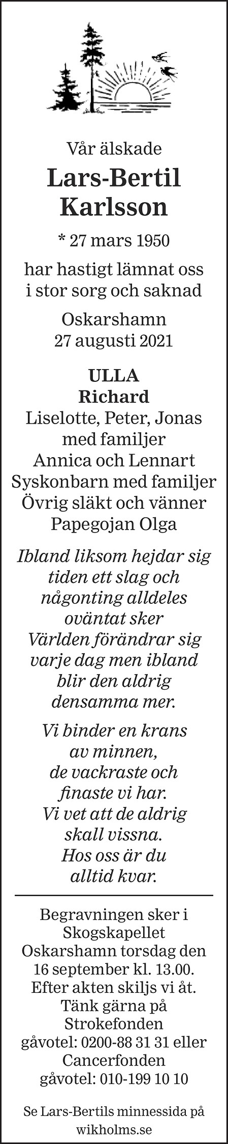 Lars-Bertil Karlsson Death notice