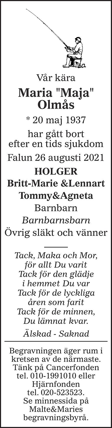 Maria Olmås Death notice