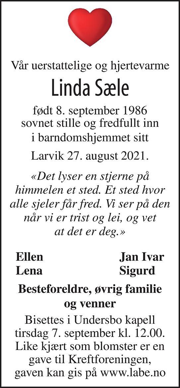 Linda Sæle Dødsannonse