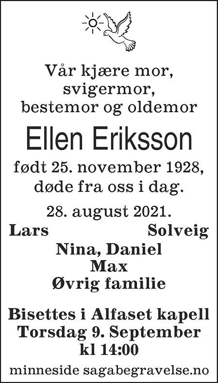 Ellen Eriksson Dødsannonse