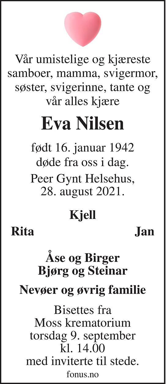 Eva Nilsen Dødsannonse