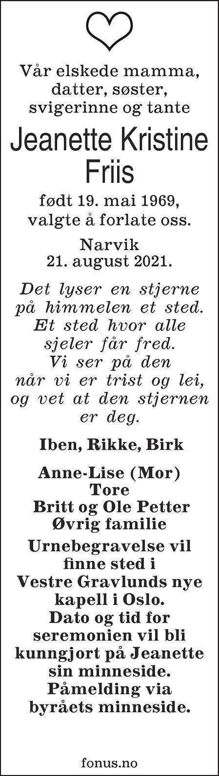 Jeanette Kristine Friis Dødsannonse