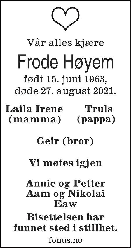 Frode Høyem Dødsannonse