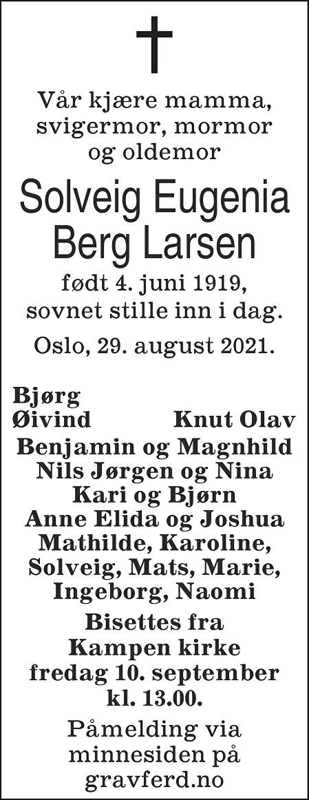 Solveig Eugenia Berg Larsen Dødsannonse