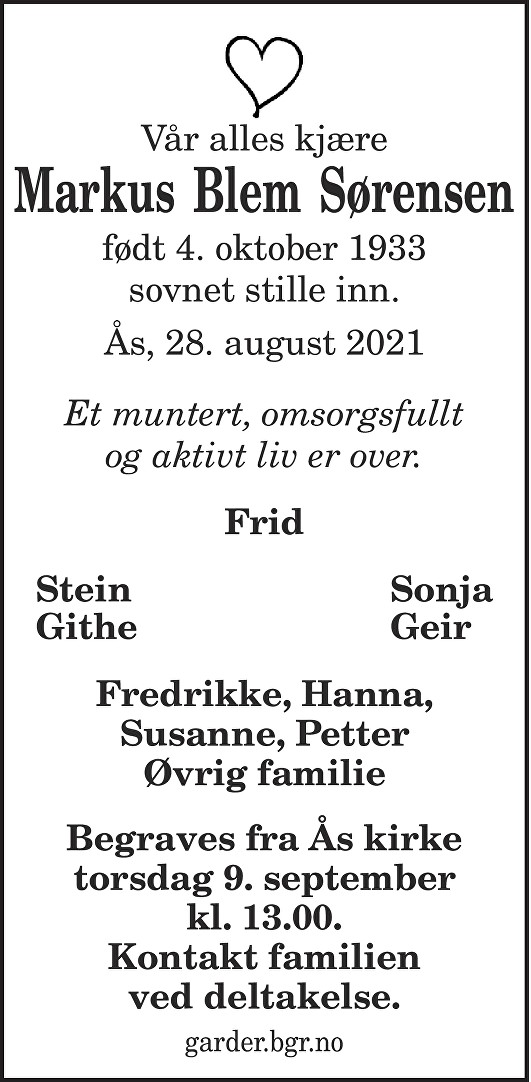 Markus Blem Sørensen Dødsannonse