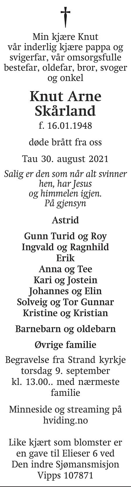 Knut Arne Skårland Dødsannonse