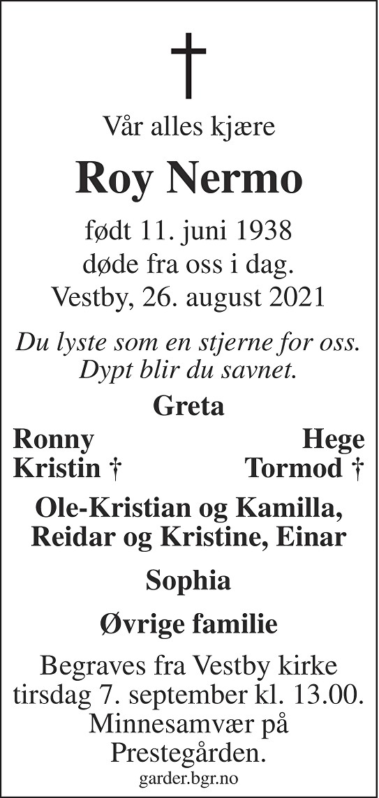 Roy Nermo Dødsannonse