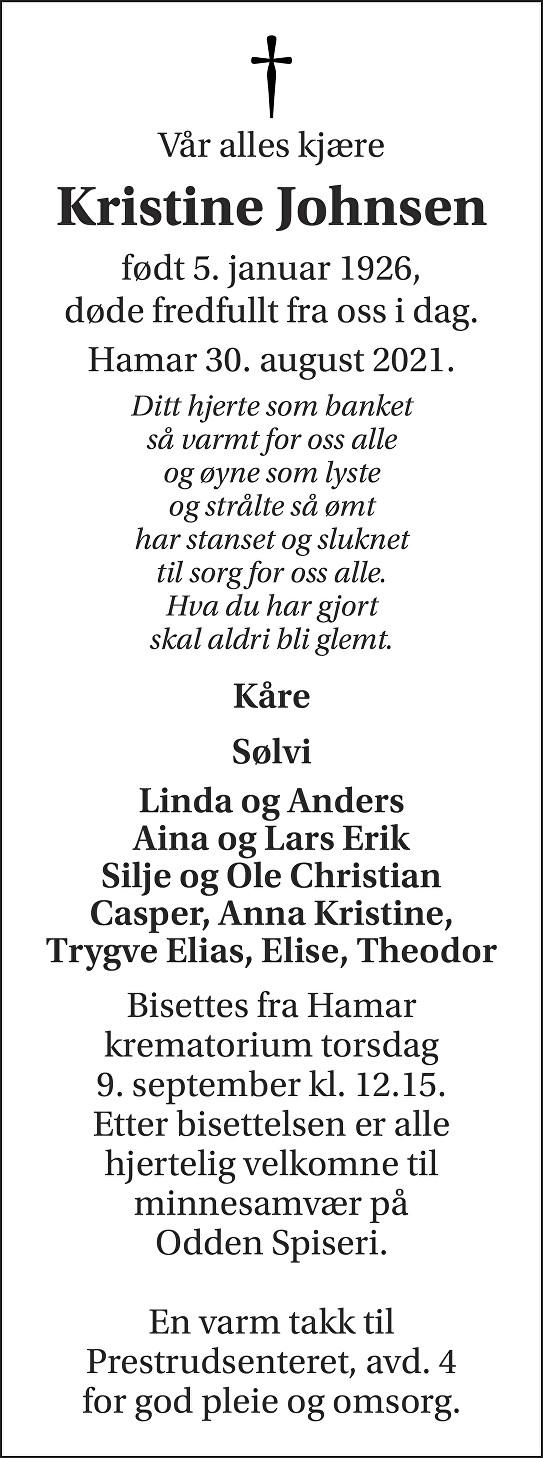 Kristine Johnsen  Dødsannonse