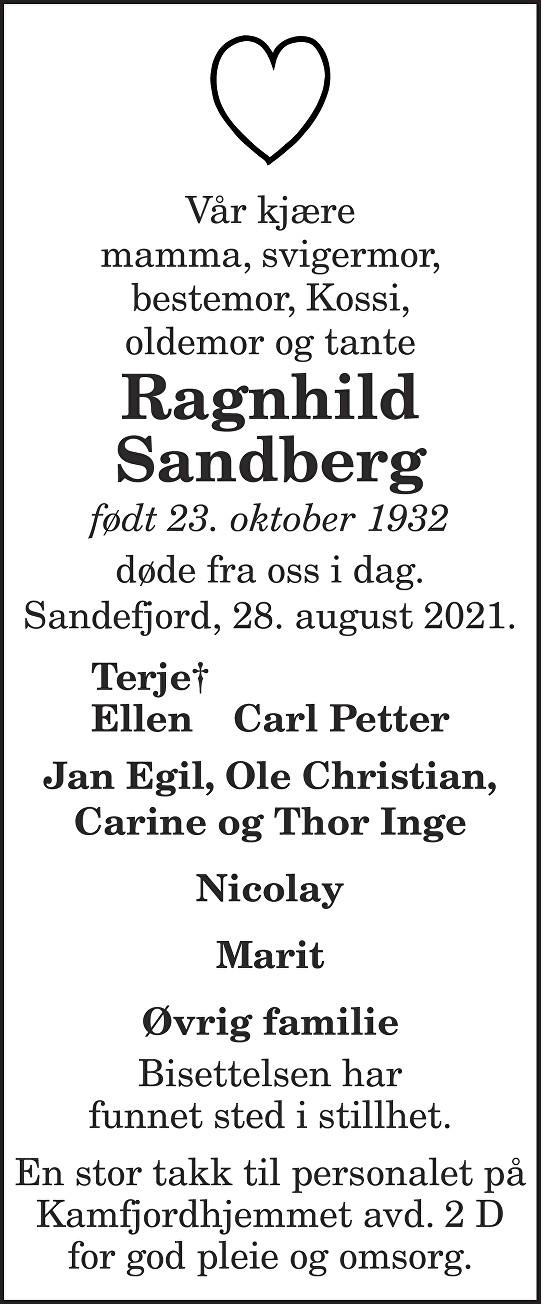 Ragnhild Sandberg Dødsannonse