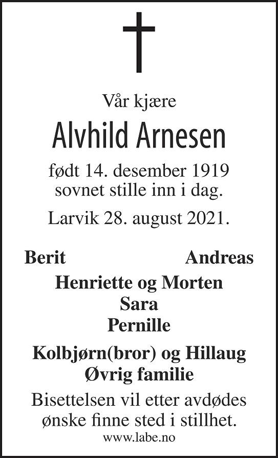 Alvhild Arnesen Dødsannonse