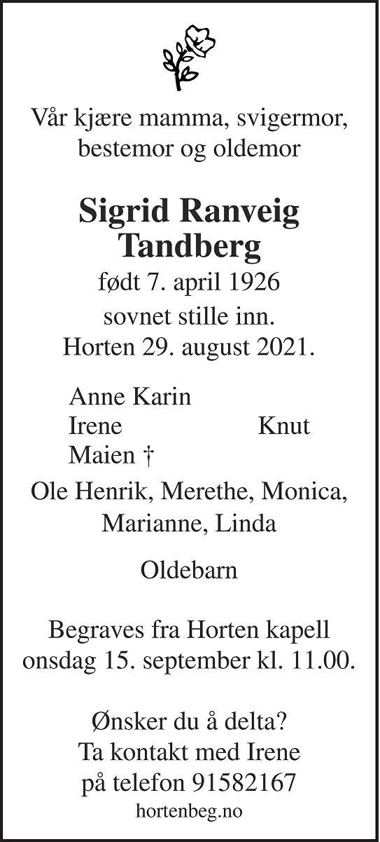 Sigrid Ranveig Tandberg Dødsannonse