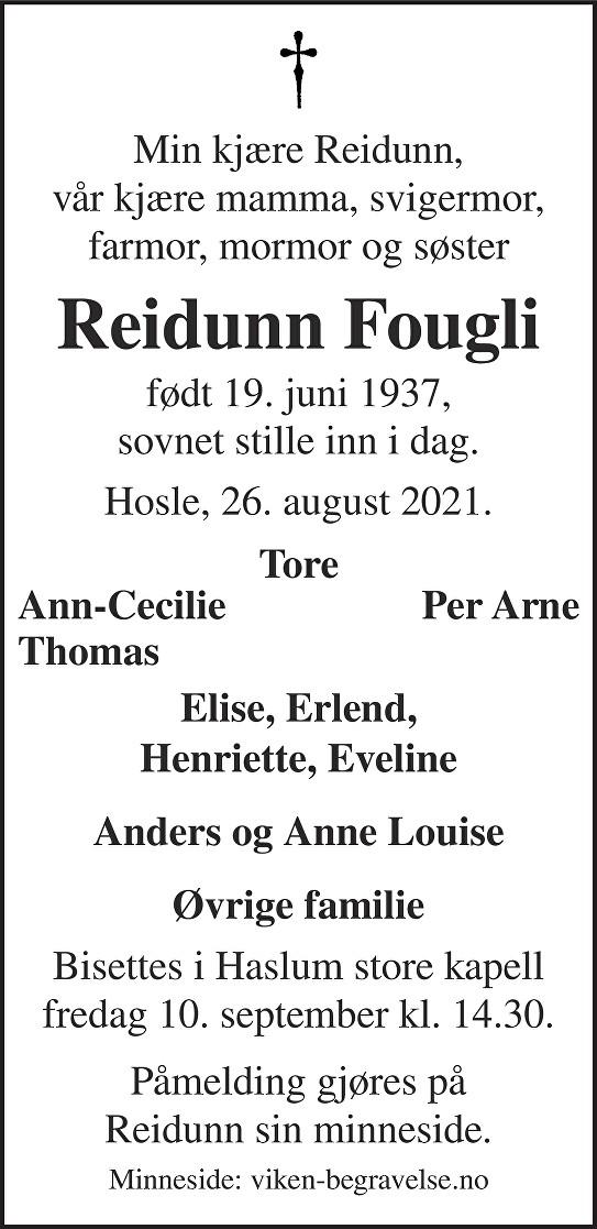 Reidunn Fougli Dødsannonse