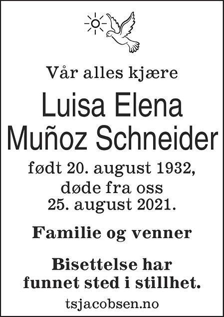 Luisa Elena Munoz Schneider Dødsannonse