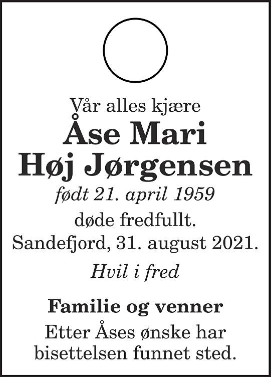Åse Mari Høj Jørgensen Dødsannonse