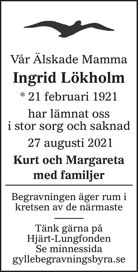 Ingrid Lökholm Death notice