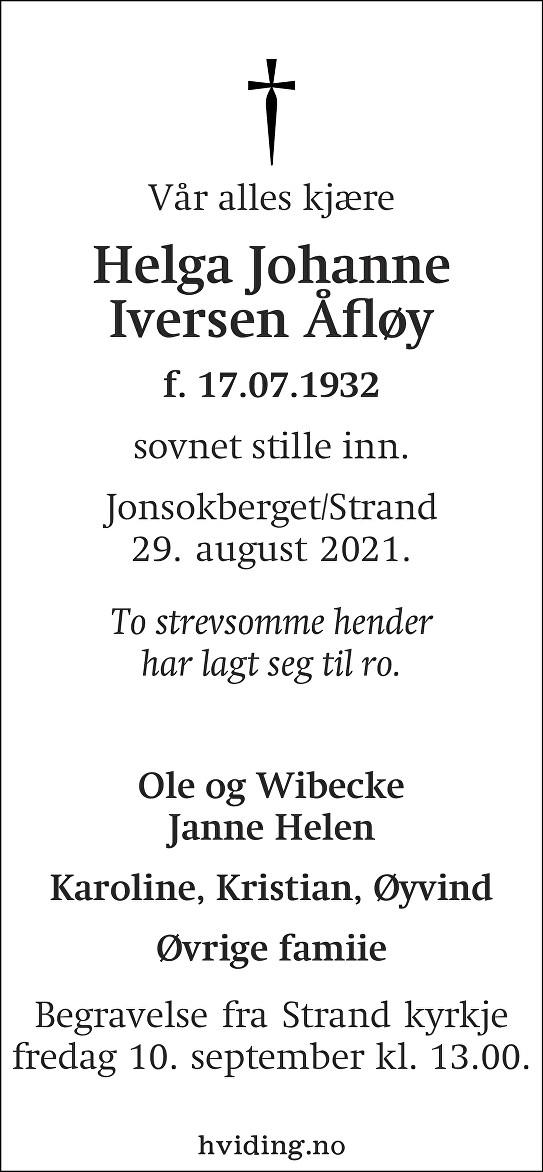 Helga Johanne Iversen Åfløy Dødsannonse