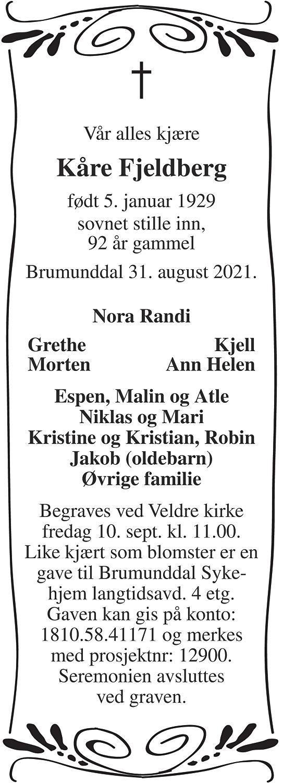 Kåre  Fjeldberg Dødsannonse