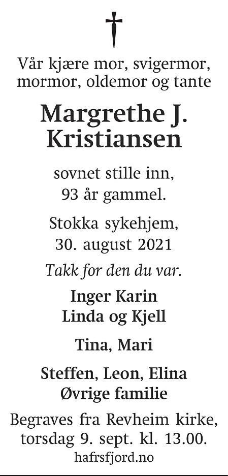 Margrethe J Kristiansen Dødsannonse