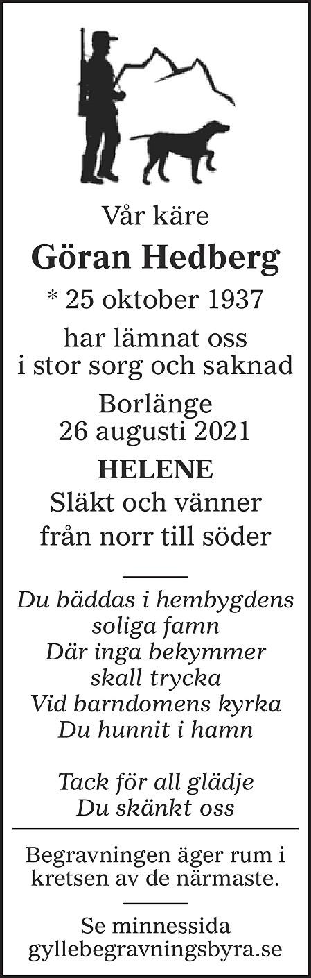 Göran Hedberg Death notice