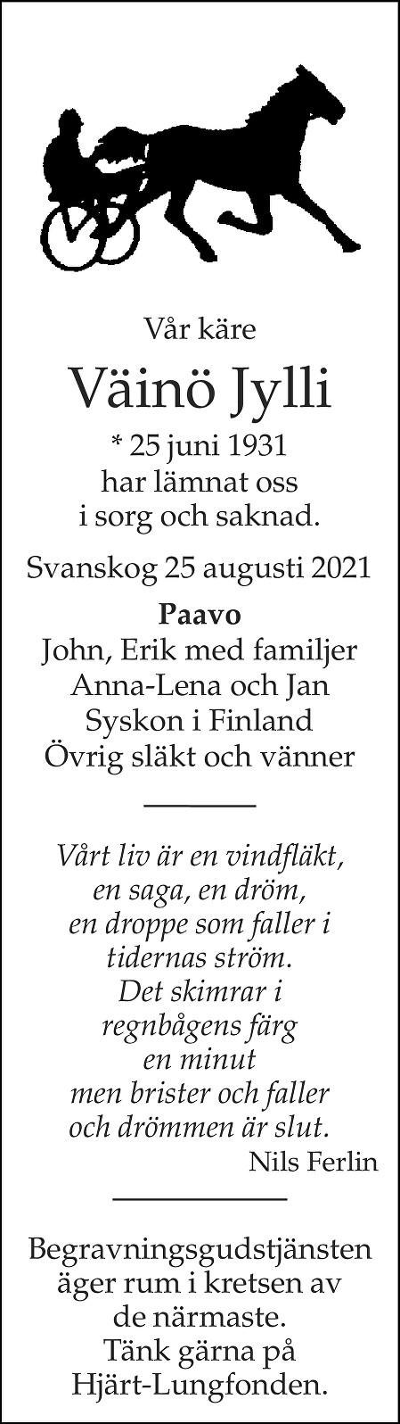 Väinö Jylli Death notice
