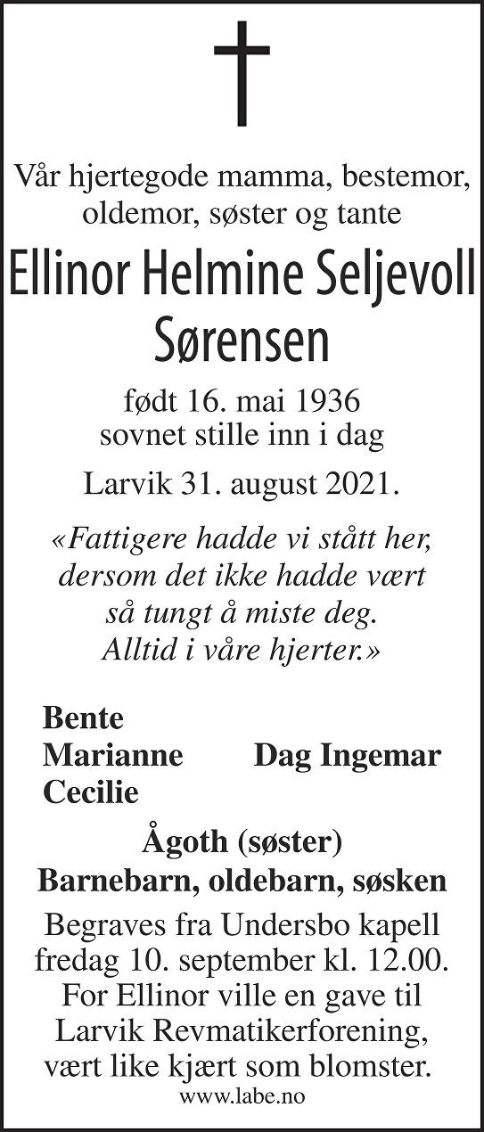 Ellinor Helmine Seljevoll Sørensen Dødsannonse