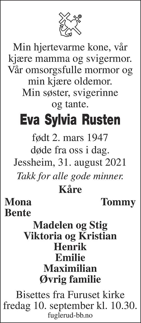 Eva Sylvia Rusten Dødsannonse