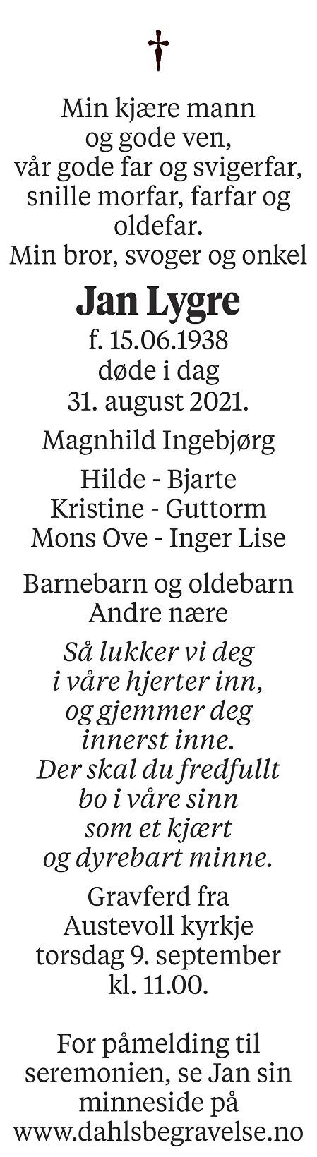 Jan Lygre Dødsannonse