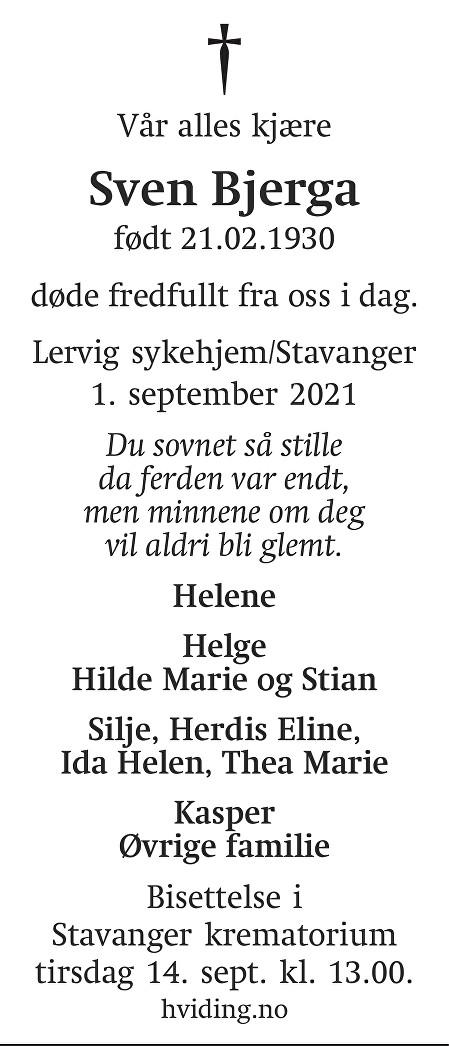 Sven Bjerga Dødsannonse