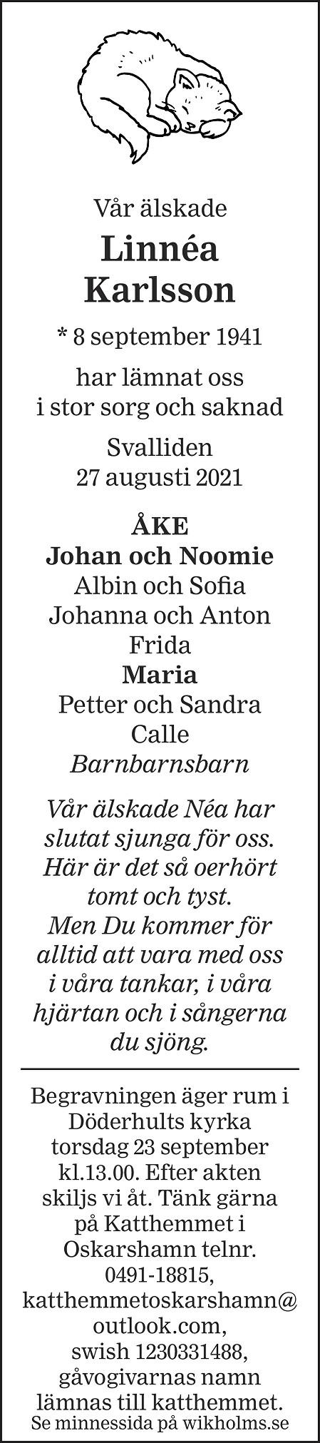Linnéa Karlsson Death notice