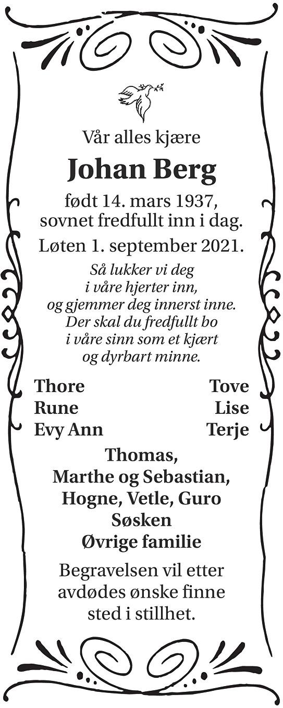 Johan Berg Dødsannonse